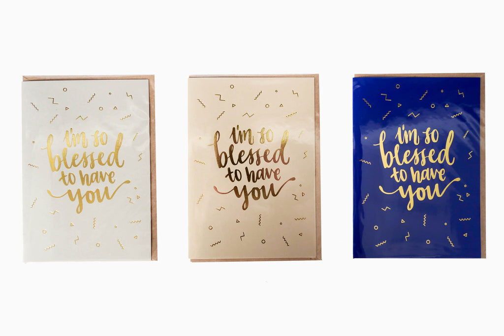 I'm so blessed to have you greeting card front design 3 colours (Grey, sand and blue)