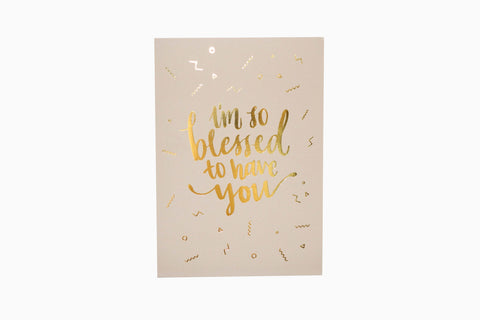 I'm so blessed to have you greeting card front design in sand