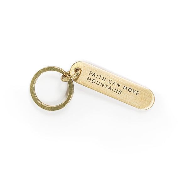 Brass keychain. Engraved with 'faith can move mountains'. Great timeless gifts for loved ones. Father's Day gift ideas.
