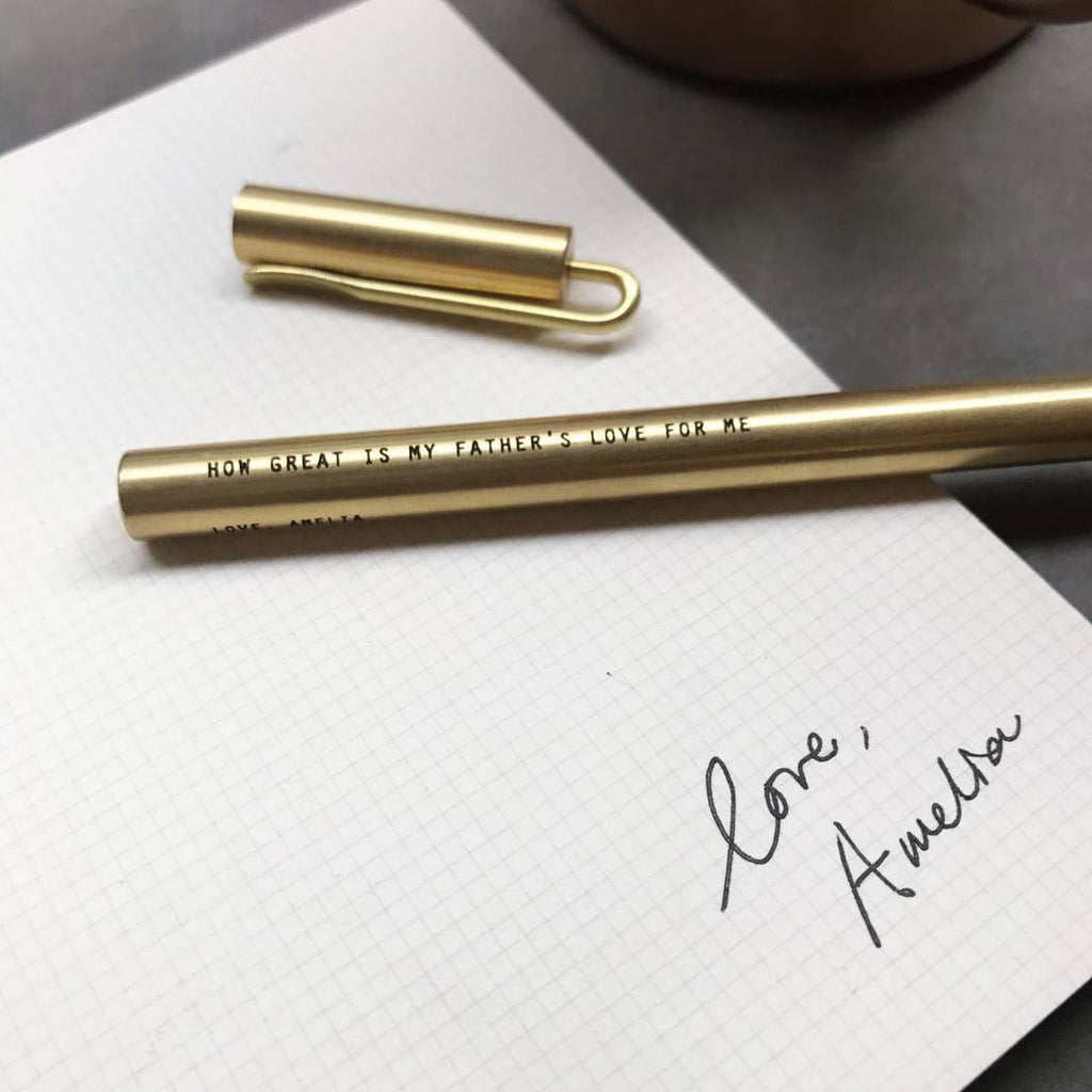 custom engrave your own brass pen with laser engraving singapore