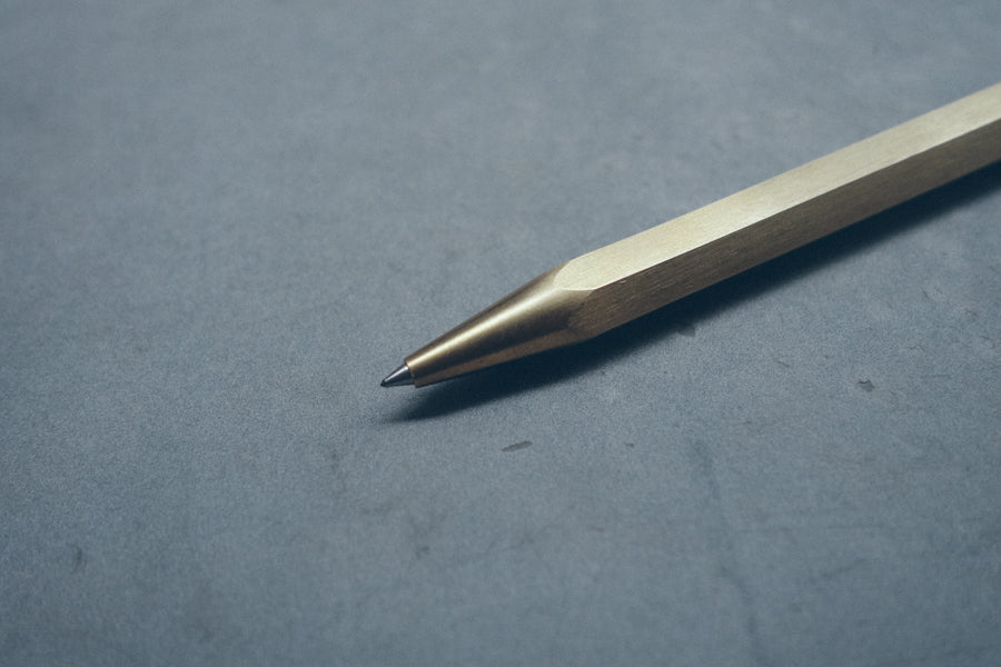 close up of ballpoint pen tip