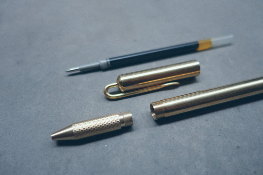 Brass pen set comes with barrel, pen cap, ink refill and metal box to keep the pen in