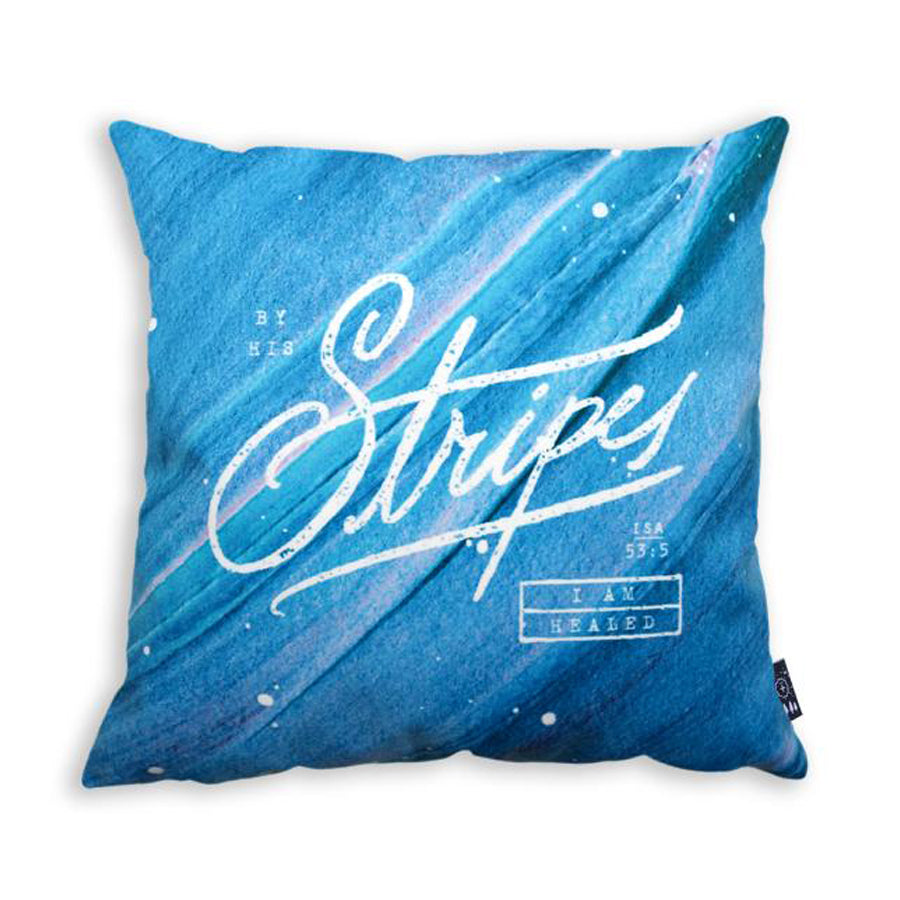 Premium 45cmx45cm pillow cover made of super soft velvet, blue pastel colour theme. With hidden zip feature. Features verse from Isaiah 53:5.