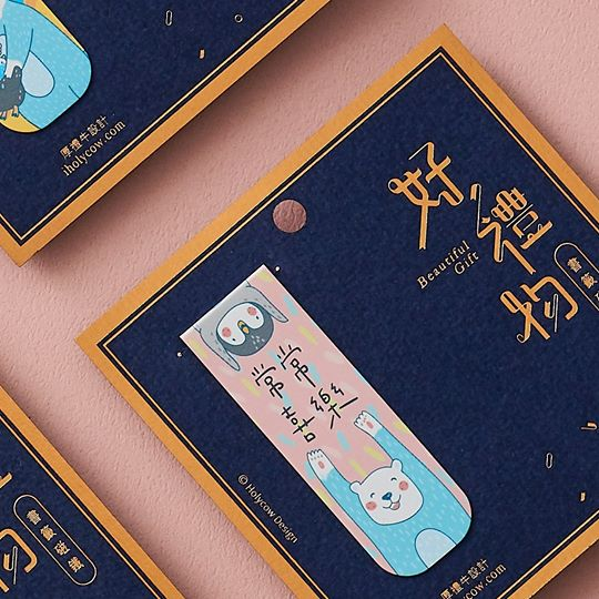 Rejoice always bookmark with chinese characters with polar bear and penguin best friends.