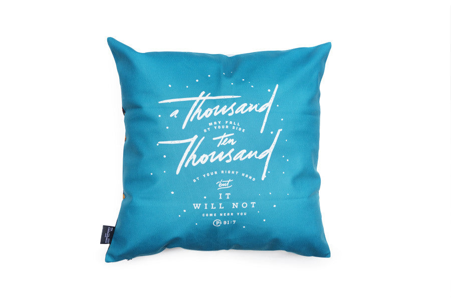 Premium 45cmx45cm square pillow cover made of super soft velvet. With hidden zip feature. Features Psalm 91:7 on light blue background