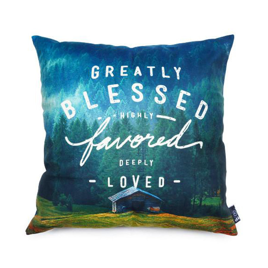 Premium 45cmx45cm pillow cover made of thick super soft velvet, scenery of mountainside cabin. With hidden zip feature. Features verse 'Greatly blessed, highly favoured, deeply loved'.