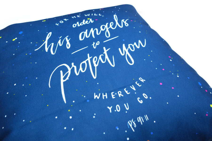 Close up of premium 45cmx45cm pillow cover made of super soft velvet, blue and white colour theme. With hidden zip feature. Features Psalm 91:11.