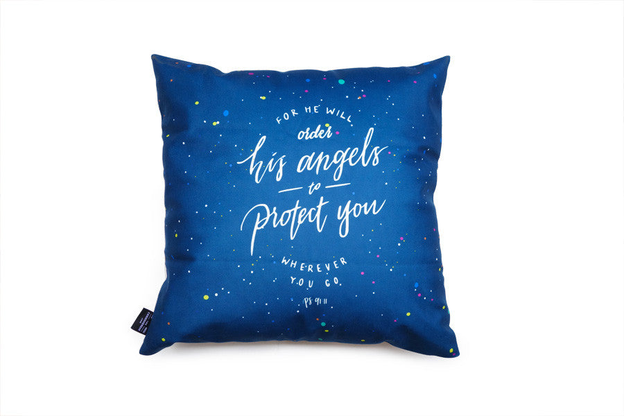 Premium 45cmx45cm pillow cover made of super soft velvet, blue and white colour theme. With hidden zip feature. Features Psalm 91:11