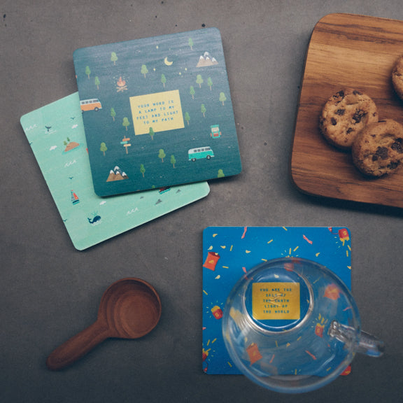 Tea time aesthetics. Drink tea and eat cookies with coasters to make eating more enjoyable.