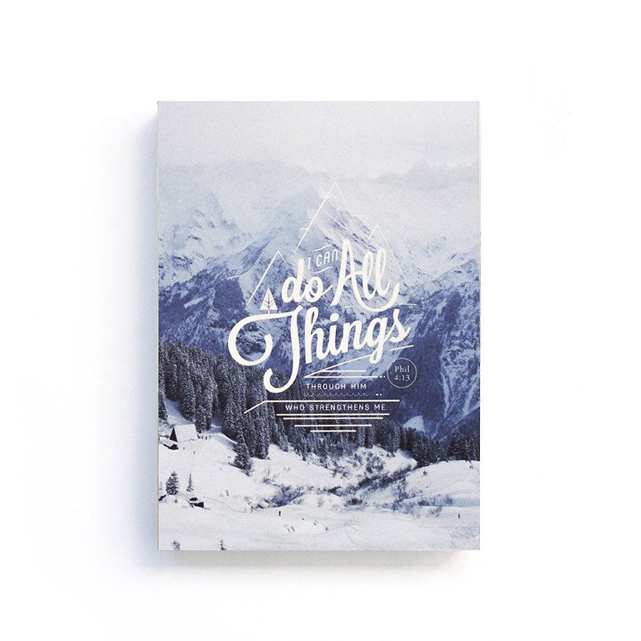 192 Pages notebook made of eco-friendly tree-free palm paper. Measures 105mm (W) x 148mm (H) x 17mm (D). 400gsm cover, 80 gsm inlay, coptically binded. Features 'I can do all things through Christ who strengthens me'.