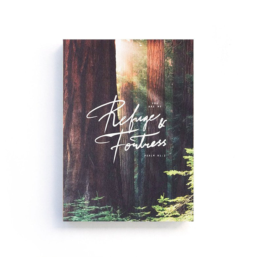 192 Pages notebook made of eco-friendly tree-free palm paper. Measures 105mm (W) x 148mm (H) x 17mm (D). 400gsm cover, 80 gsm inlay, coptically binded. Features 'You are my refuge and fortress' Christian notebook.
