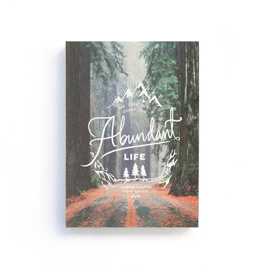 192 Pages notebook made of eco-friendly tree-free palm paper. Measures 105mm (W) x 148mm (H) x 17mm (D). 400gsm cover, 80 gsm inlay, coptically binded. Features John 10:10 - The Lord will grant you abundant life.