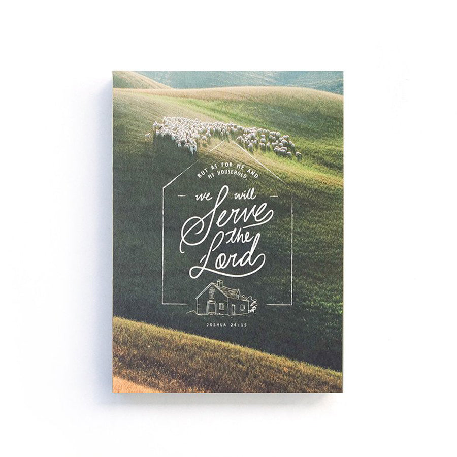 192 Pages notebook made of eco-friendly tree-free palm paper. Measures 105mm (W) x 148mm (H) x 17mm (D). 400gsm cover, 80 gsm inlay, coptically binded. Features 'As for me and my whole family, we will serve the Lord' Christian notebook.