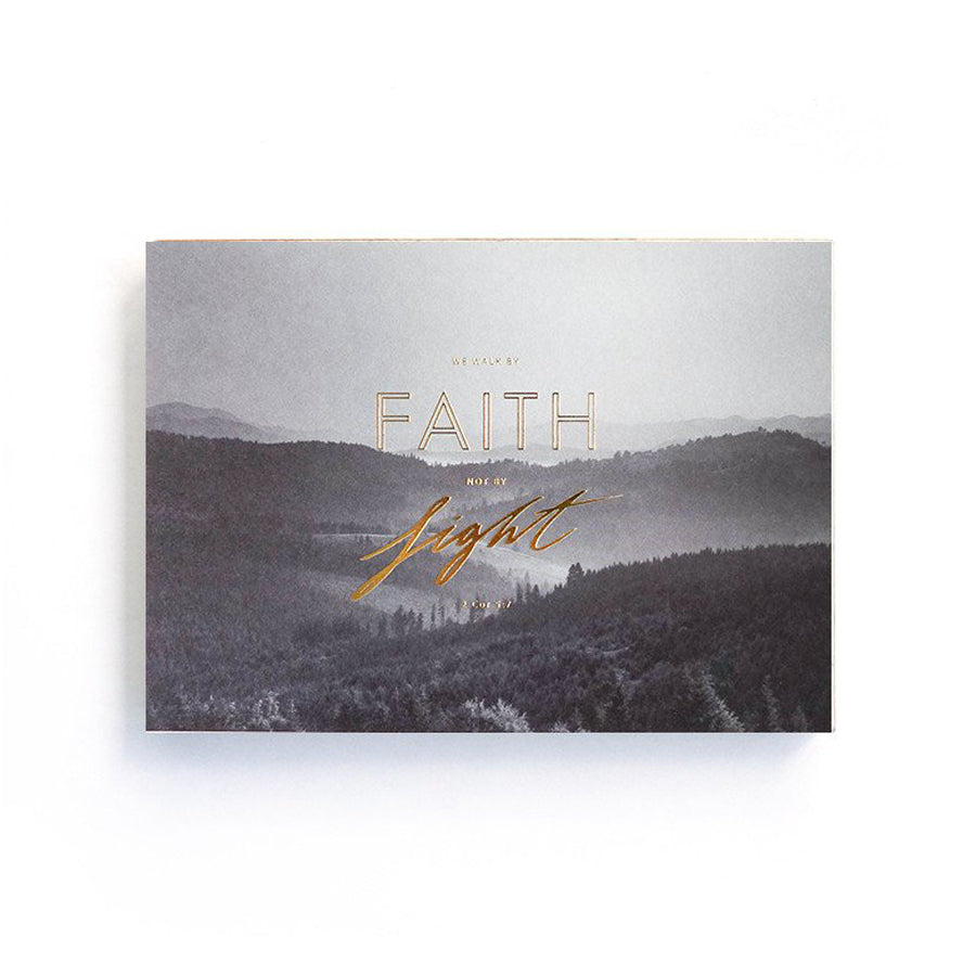 192 Pages notebook made of eco-friendly tree-free palm paper. Measures 105mm (W) x 148mm (H) x 17mm (D). 400gsm cover, 80 gsm inlay, coptically binded. Features 'Walk by faith not by sight' Christian notebook.