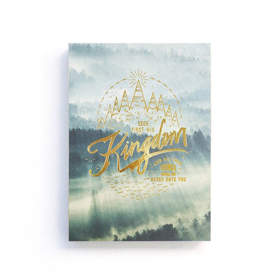 192 Pages notebook made of eco-friendly tree-free palm paper. Measures 105mm (W) x 148mm (H) x 17mm (D). 400gsm cover, 80 gsm inlay, coptically binded. Features 'Seek first his kingdom and righteousness' Christian notebook.