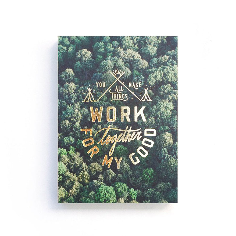 192 Pages notebook made of eco-friendly tree-free palm paper. Measures 105mm (W) x 148mm (H) x 17mm (D). 400gsm cover, 80 gsm inlay, coptically binded. Features 'All things work together for my good' Christian notebook.