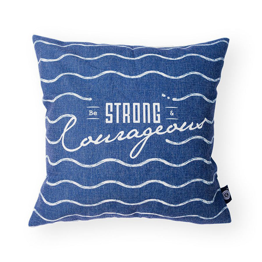 Everyone love cushion covers! They can easily comfort you with its soft feel and comfort messages and then all is well in the world. Features bible verse ' Be strong and courageous'. Premium 45cmx45cm light navy pillow cover made of cotton linen. With hidden zip feature.