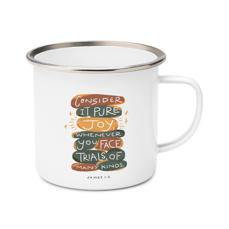 James 1:2 Consider it pure joy whenever you face trail of many kinds mug design