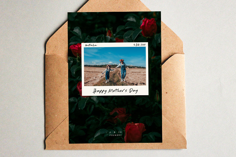 Create a free customised postcard with a photo of your mum and you