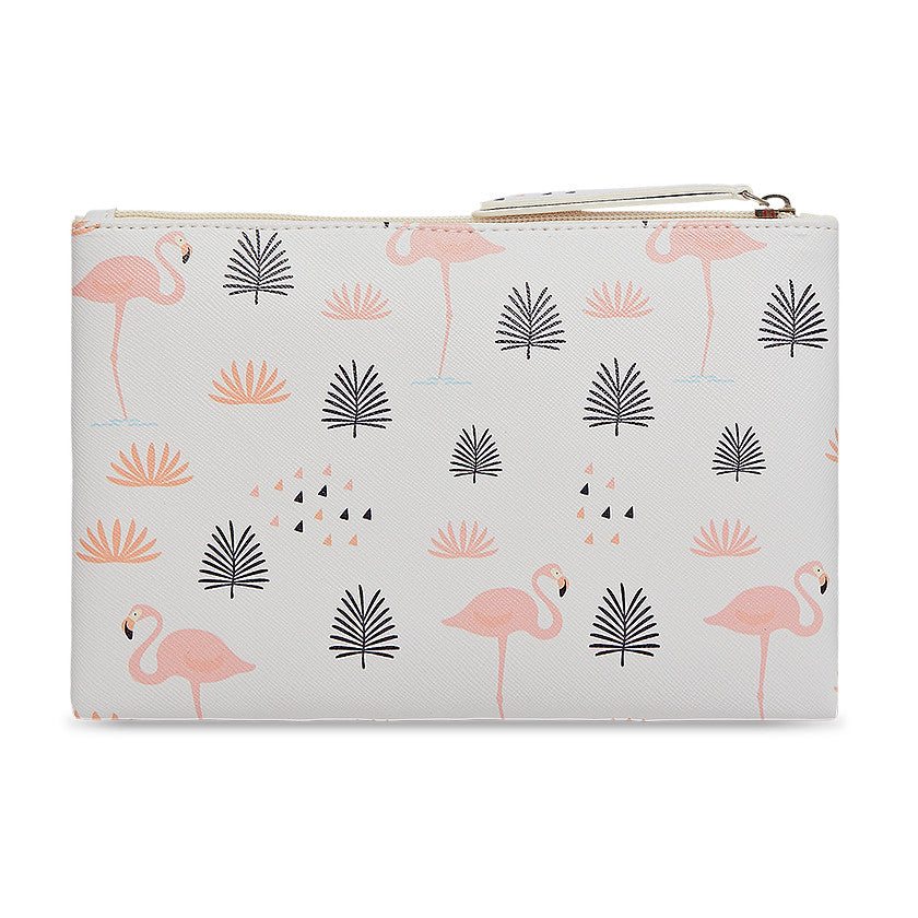 Multipurpose polyurethane pouch in off white with flamingo designs on it.