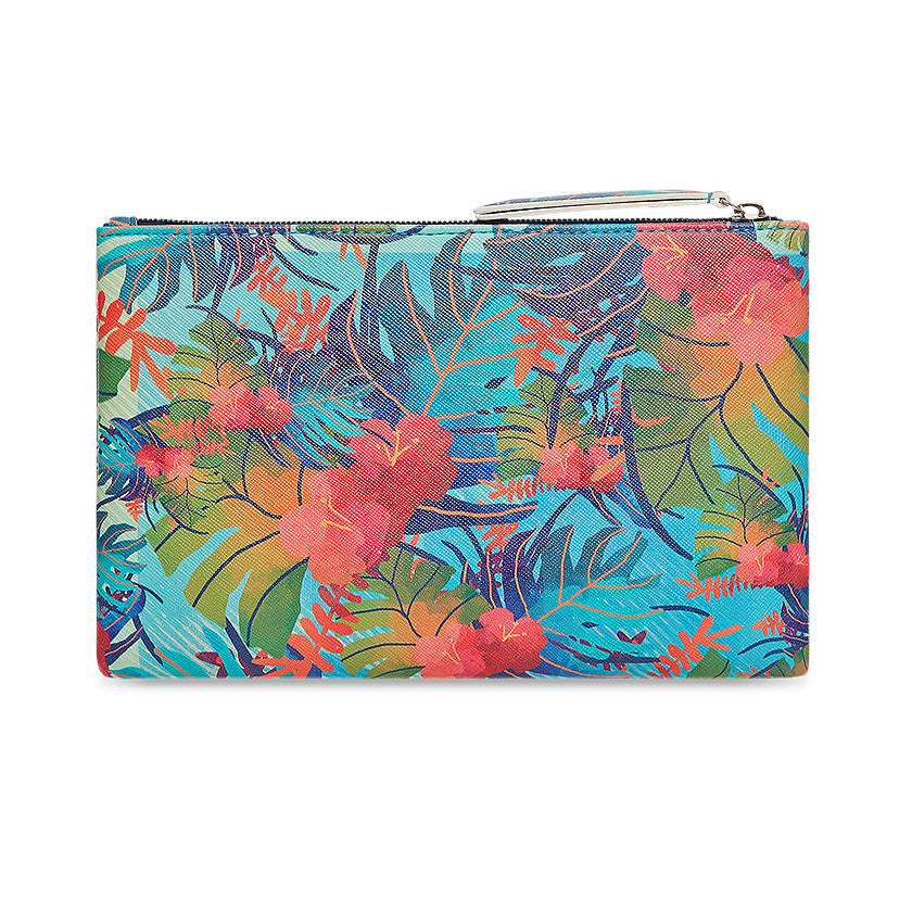 Multipurpose polyurethane pouch in off white with tropical leaves designs on it. Features bible verse Psalm 23 in the inner lining and is great Christian gift idea.