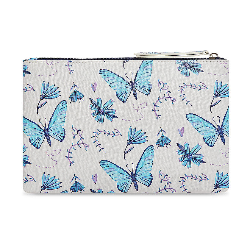 Multipurpose polyurethane pouch in off white with blue butterfly designs on it. Features bible verse Psalm 23 in the inner lining and is great Christian gift idea. The pouch has polyester inner lining, gold zip. Dimensions: 21.5cm (W) x 14cm (H)