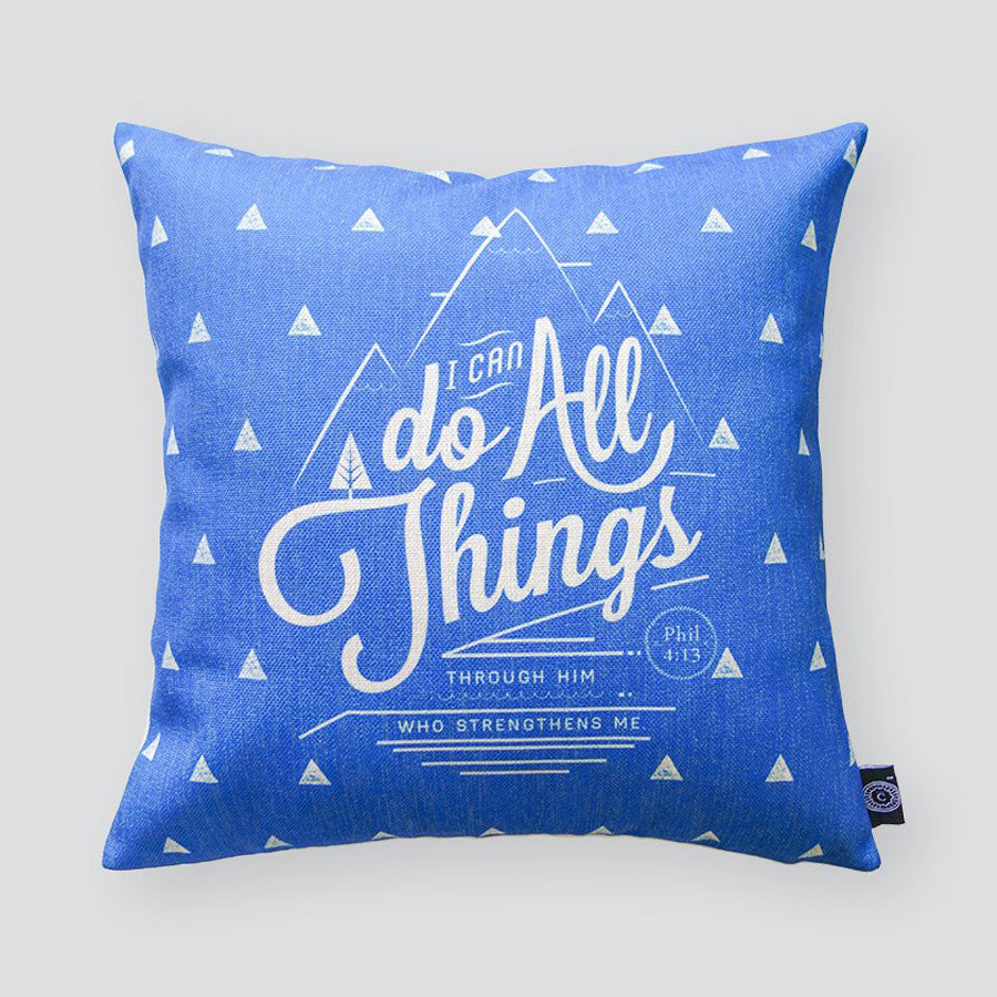 Everyone love cushion covers! They can easily comfort you with its soft feel and comfort messages and then all is well in the world. Features bible verse' Philippians 4:13. Premium 45cmx45cm blue pillow cover made of cotton linen. With hidden zip feature.
