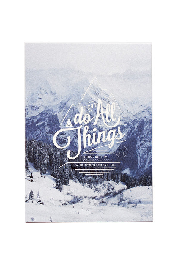 Christian verse greeting card (Paper Size A6, 300GSM Paper, Printed in Singapore) design: Philippians 4:13. Background: Snowy mountain caps. Perfect christmas greeting cards