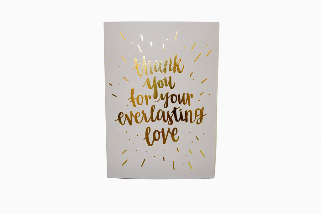 Thank you for your everlasting love greeting card front design in grey