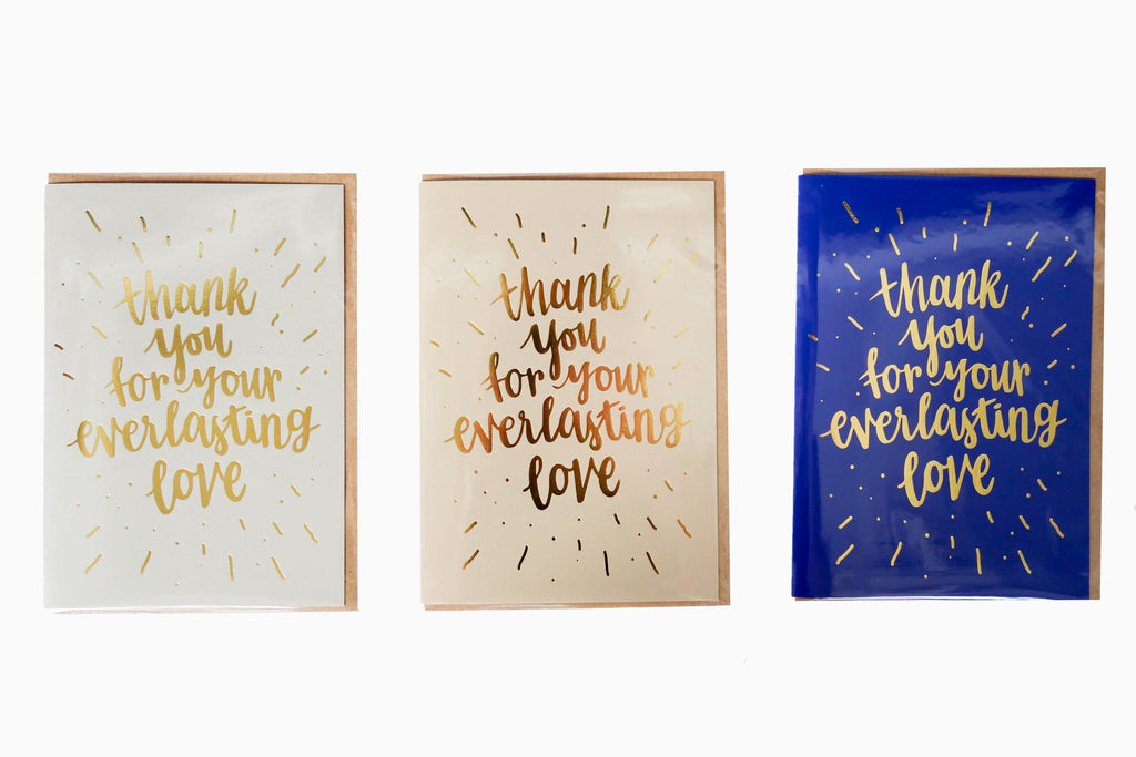 Thank you for your everlasting love greeting card front design 3 colours