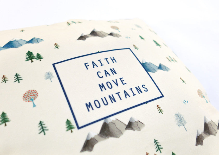 faith can move mountain soft velvet cushion cover by Hey New Day x the commandment co