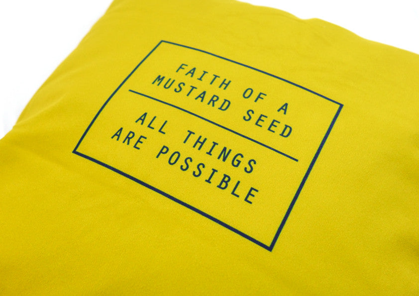 Hey New Day x the commandment co mustard seed all things possible velvet cushion cover