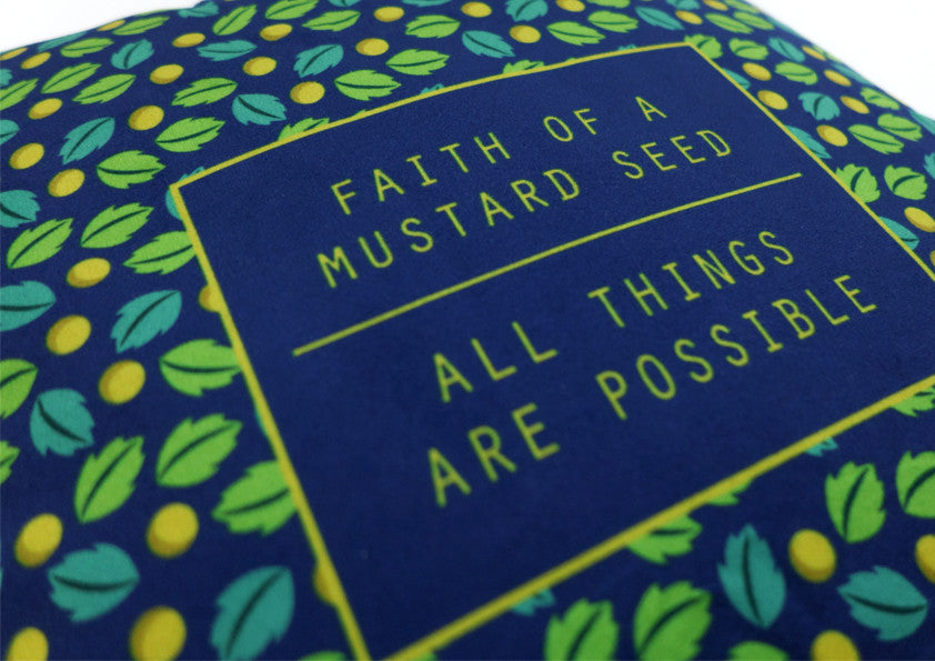 heynewday x the commandment co mustard seed all things possible velvet cushion cover