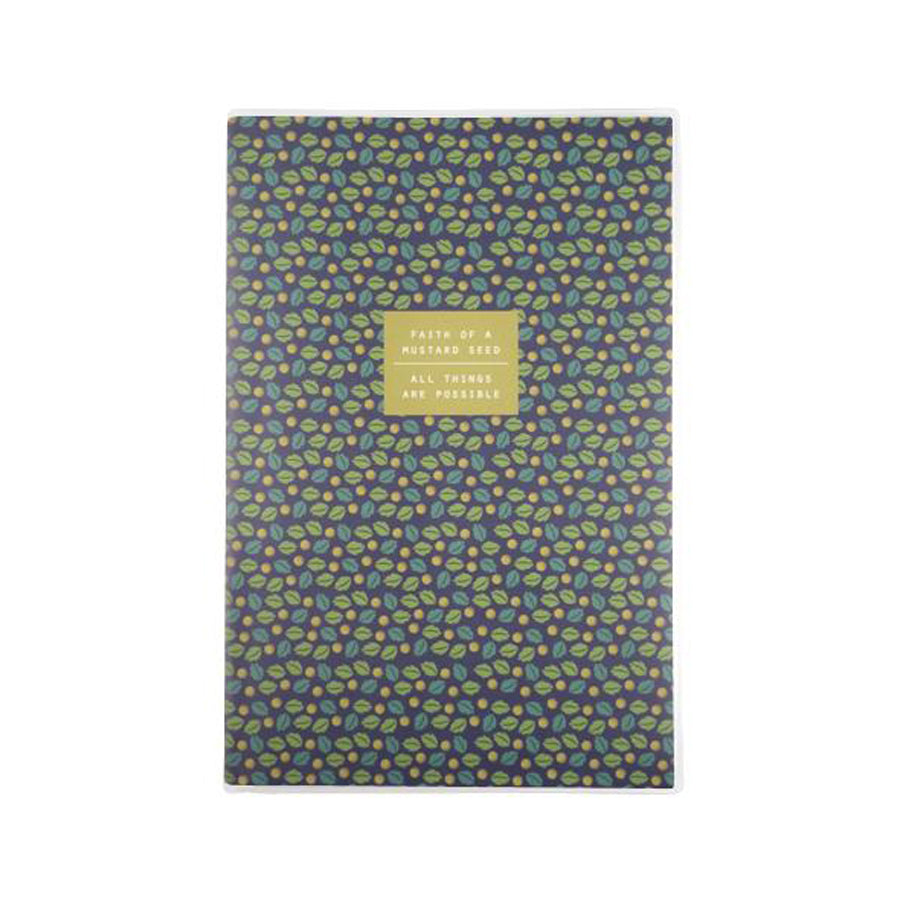 192 Pages notebook made of eco-friendly tree-free palm paper. Measures 105mm (W) x 148mm (H) x 17mm (D). 400gsm cover, 80 gsm inlay, coptically binded. Features Faith of a mustard seed, all things are possible.
