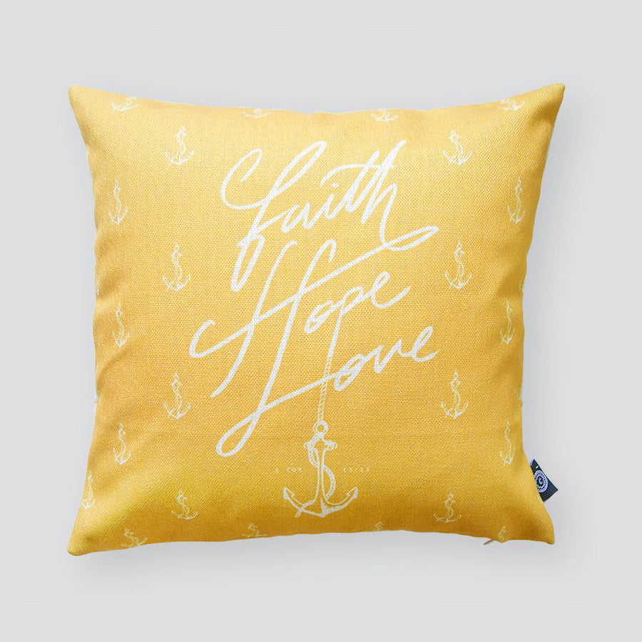 Premium 45cmx45cm pillow cover made of cotton linen,  sunshine yellow with designs of anchors. With hidden zip feature. Features verse 'Faith Hope Love'.