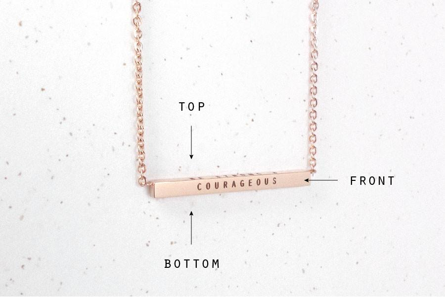 Bar Necklace Engraving Customisation Orientation