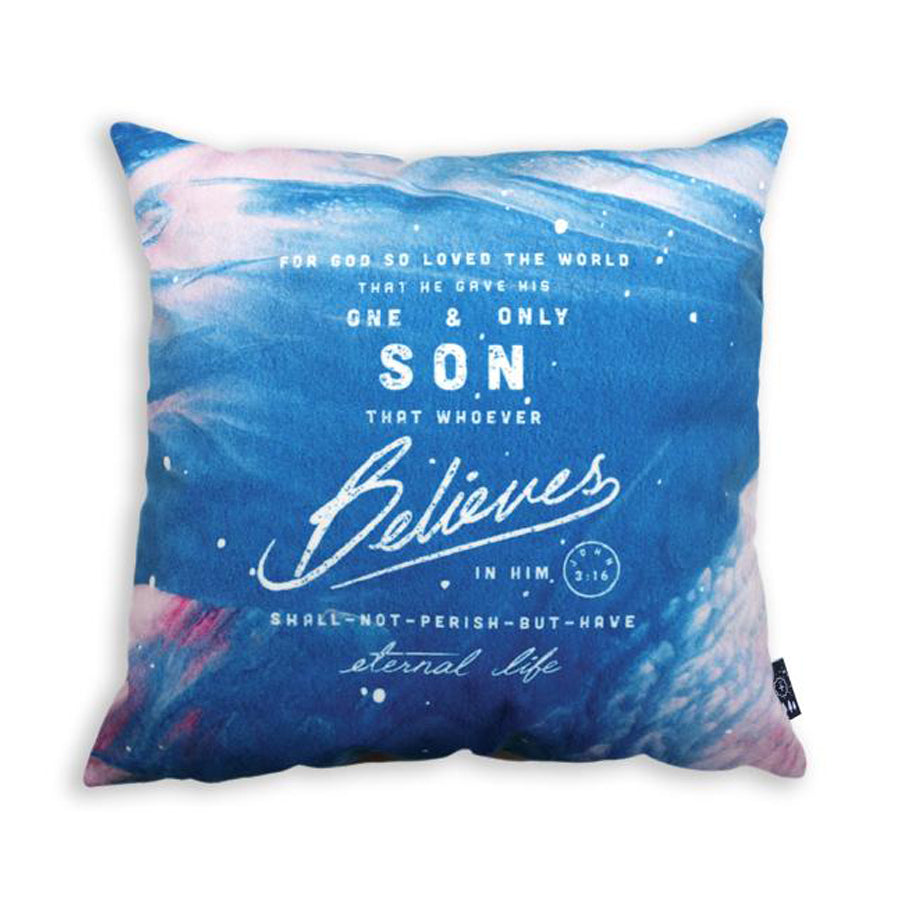 Premium 45cmx45cm pillow cover made of thick super soft velvet,  blue with clouds designs. With hidden zip feature. Features verse 'John 3:16.'