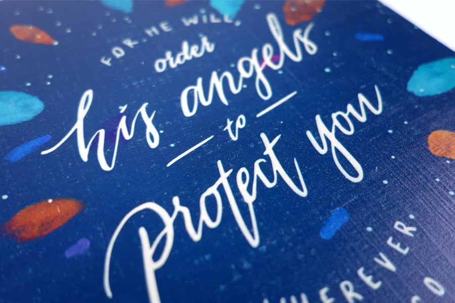 Angels Protect - Blue {Wood Board}