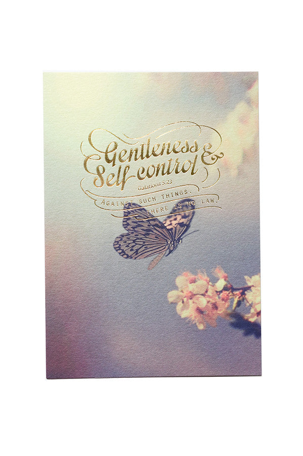 Gentleness and self control card with butterfly background. Great inspirational greeting card with Christian verses