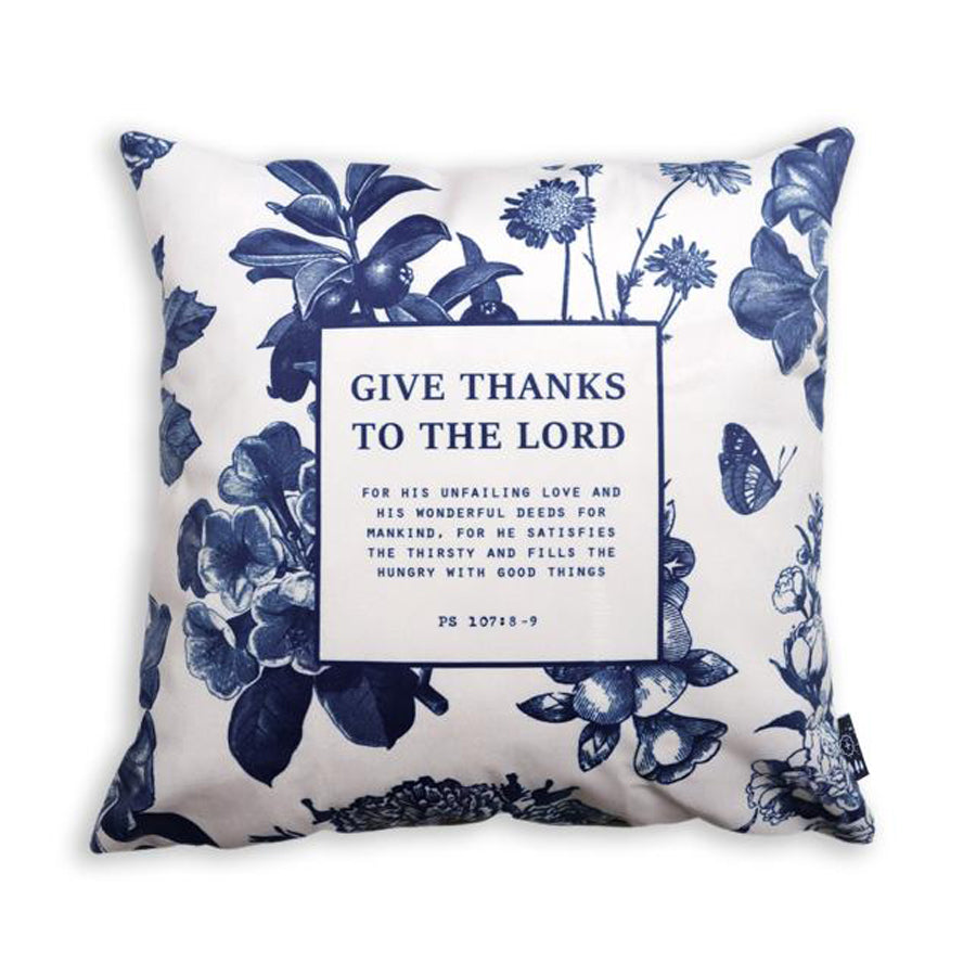 Premium 45cmx45cm pillow cover made of thick super soft velvet,  white with designs of small mountains and trees. With hidden zip feature. Features verse 'Give thanks to the Lord.'.