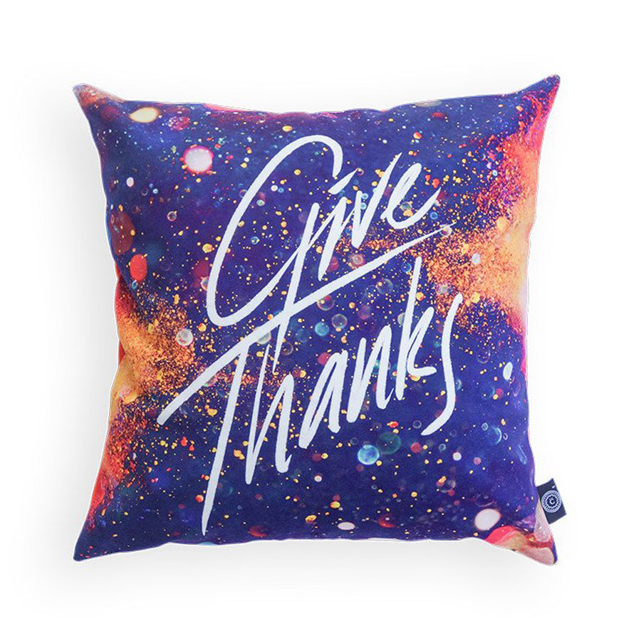 Give thanks cushion cover with glitter and sparkles details. 45cm x 45cm