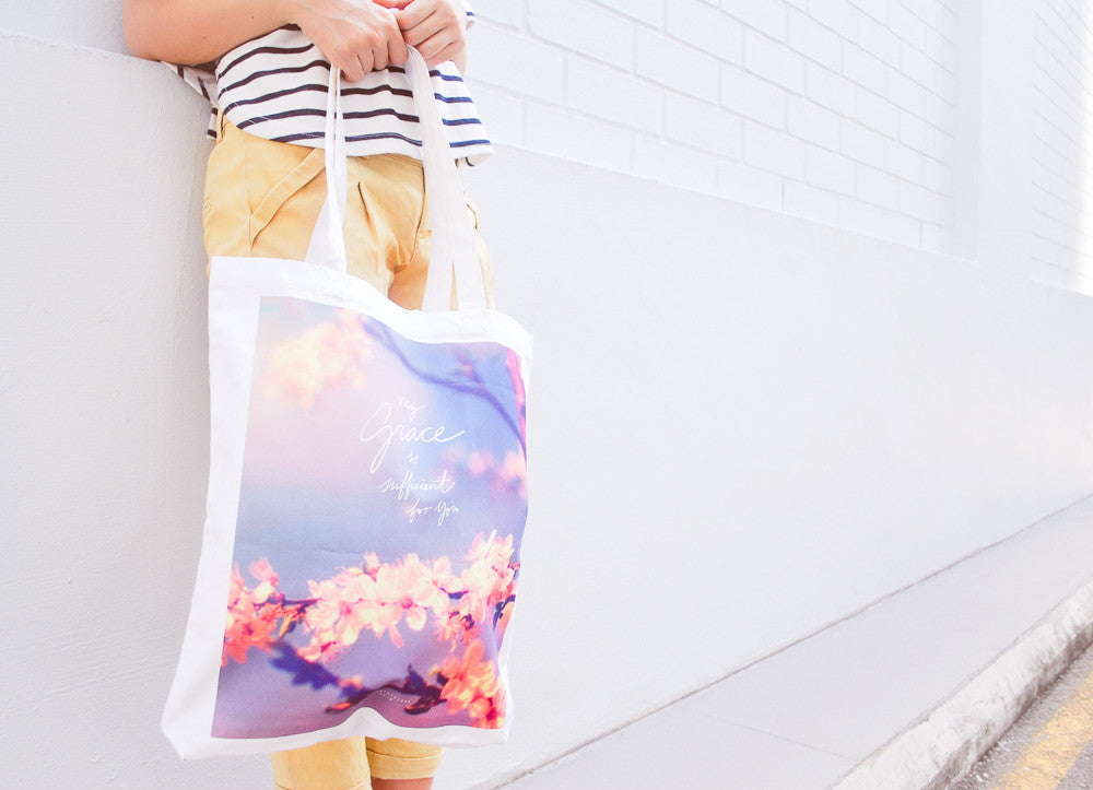 My Grace is sufficient tote bag with flower details.