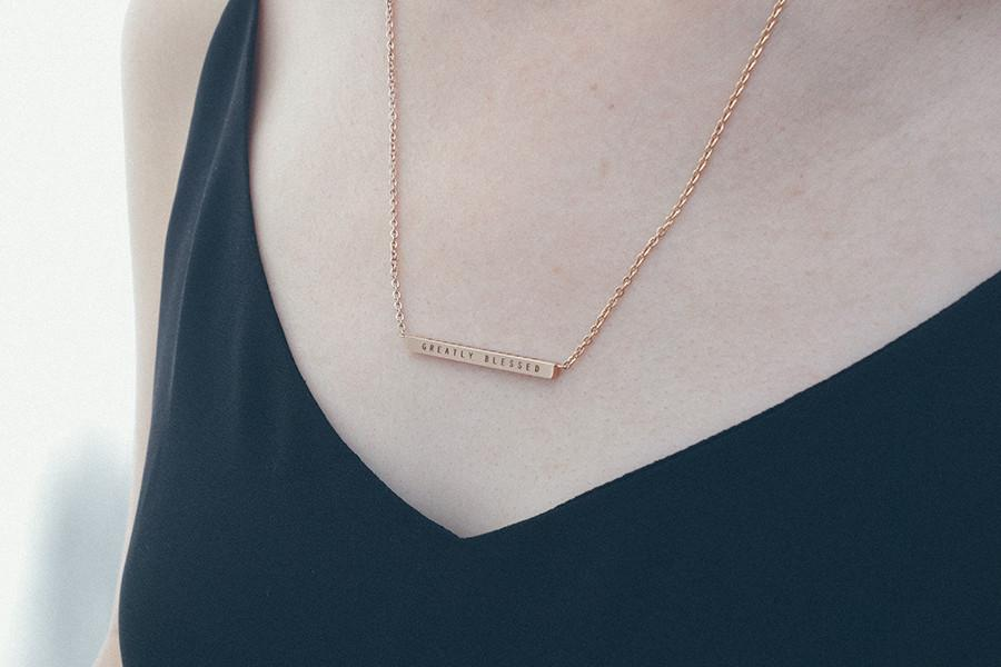 Greatly blessed rose gold bar necklace