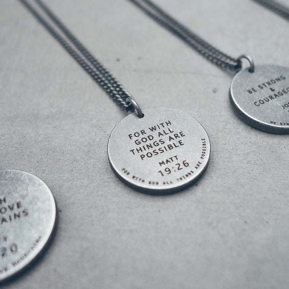 Gunmetal round necklace. Chic necklaces engraved with your favourite bible verses.