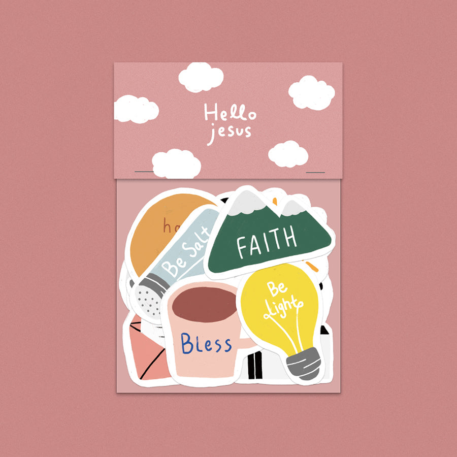 Hello Jesus spiritual sticker pack design