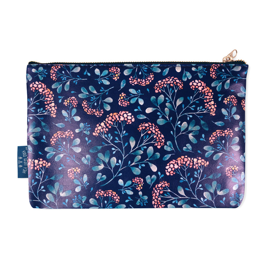 The back of the pouch features elegant plant designs