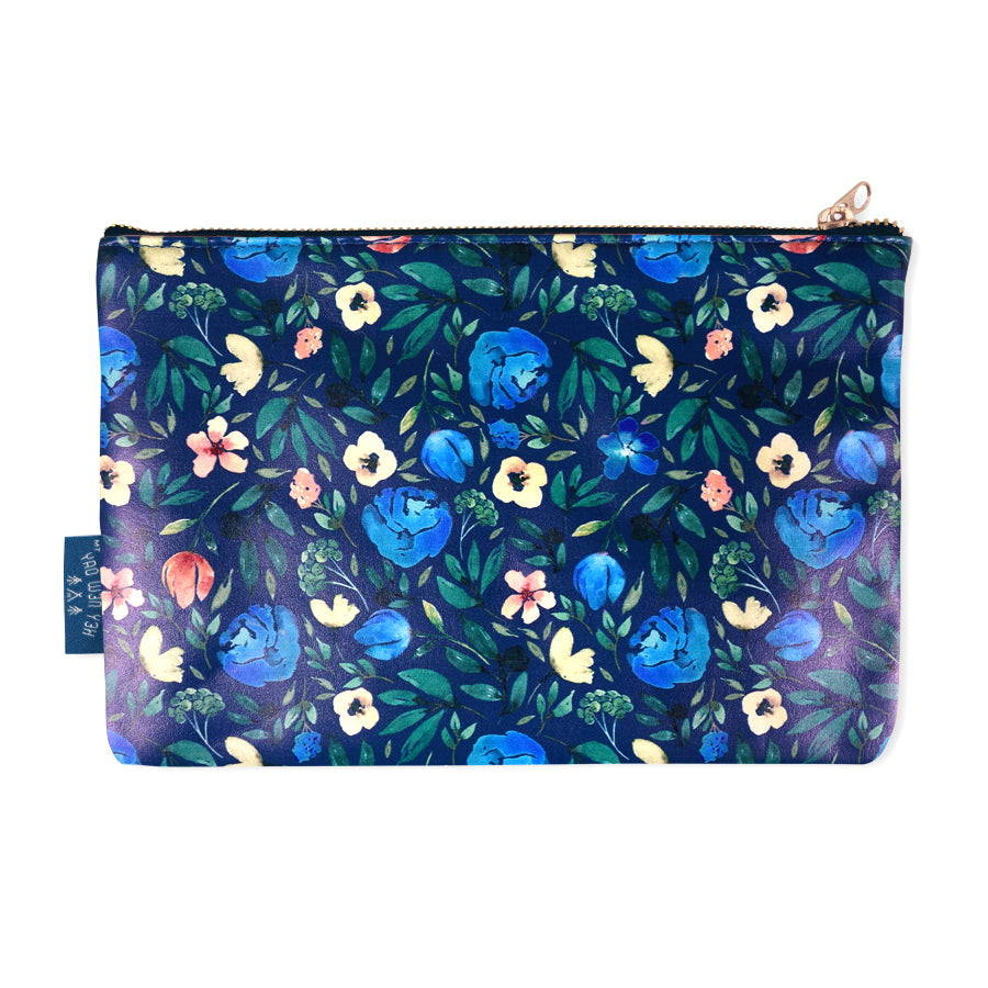 Blue pouch with garden flowers designs