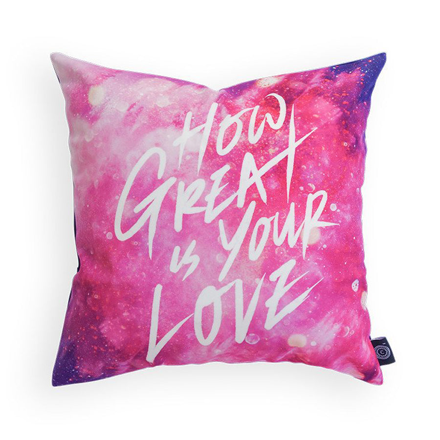 Premium 45cmx45cm pillow cover made of thick super soft velvet,  pink with designs of glitter. With hidden zip feature. Features verse 'How great is your love'.