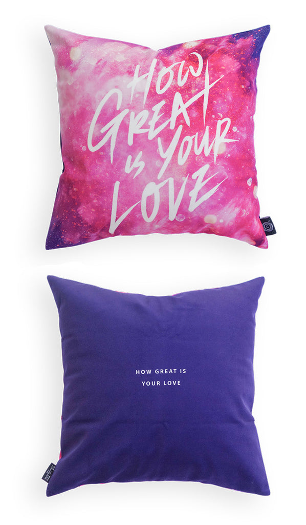 Comparison between front and back logo of cushion cover