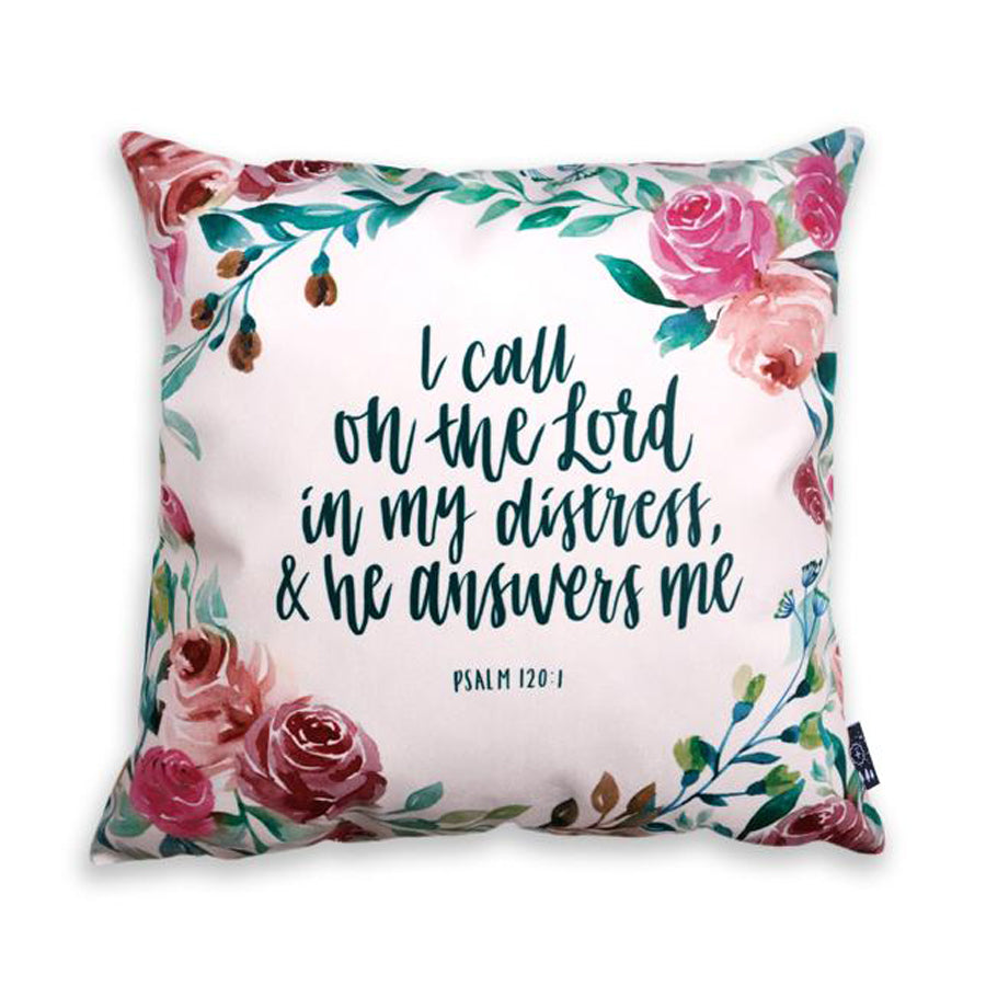 Premium 45cmx45cm pillow cover made of thick super soft velvet,  pink with designs of glitter. With hidden zip feature. Features verse 'I call on the Lord in my distress and he answers me'.